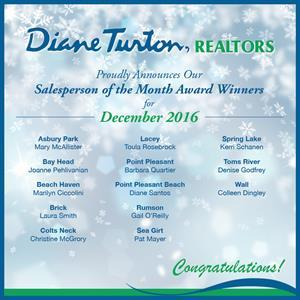 Diane Turton, Realtors Announces December, 2016 Salesperson of the Month Award Winners