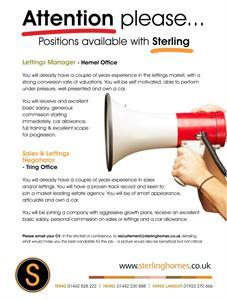 Sterling Recruitment - immediate vacancies